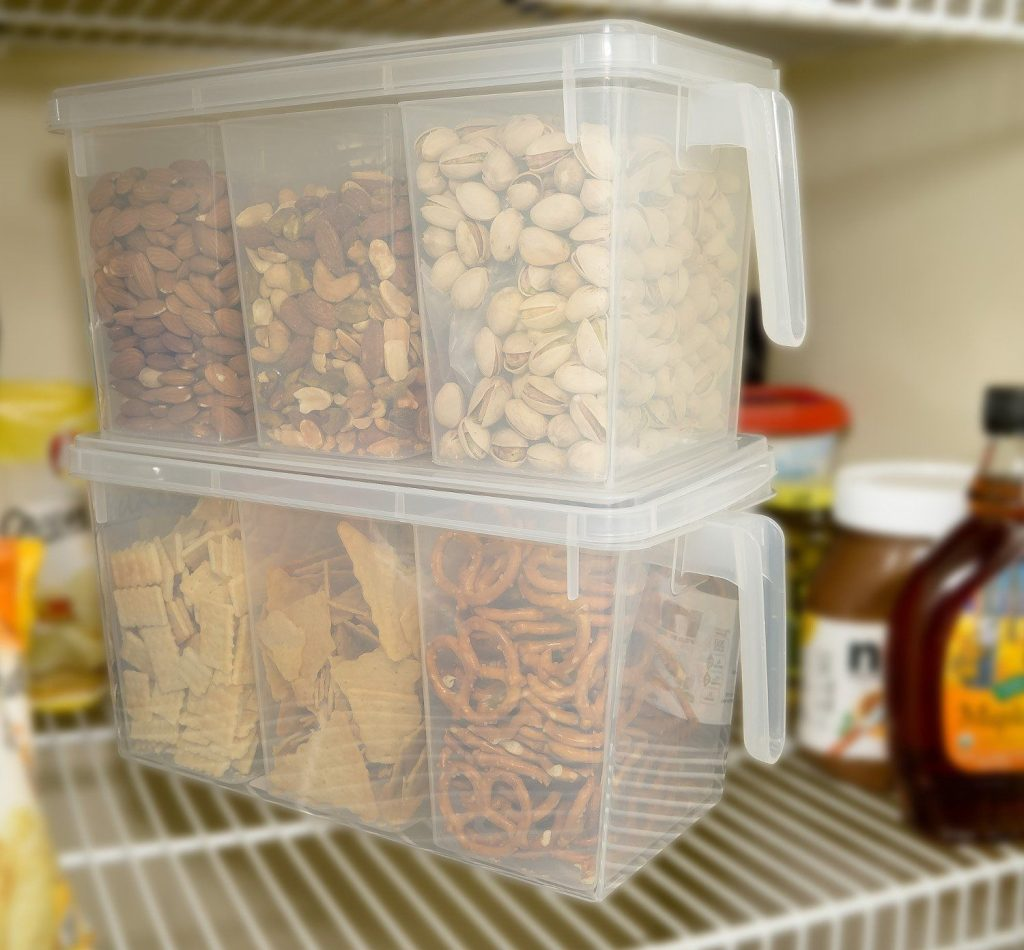 Refrigerator Organizer Container - Clear with Lid, Handle and 3 Smaller Bins.jpg
