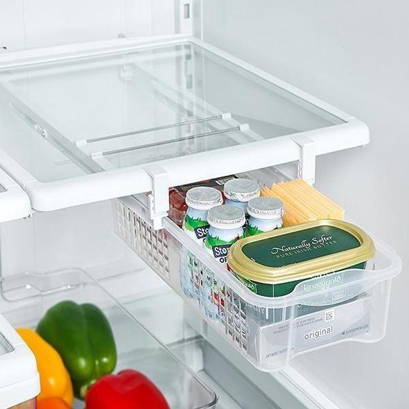 Smart Design Refrigerator Pull Out Bin & Home Organizer w/Extendable Rails & Handle